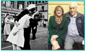 """Rep. Ruggiero with George Mendonsa, """"The Kissing Sailor"""""""