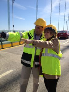 Rep. Ruggiero with RIBTA engineer Eric Offenberg on the Pell Bridge. She sponsored the legislation to install a median barrier to make the bridge safer.